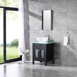 24 Quot Wood Bathroom Sink Vanity Cabinet Round Bowl Modern