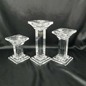 SHANNON-Crystal-Designs-Of-Ireland-Set-Of-3-Candle-Holders-HEAVY