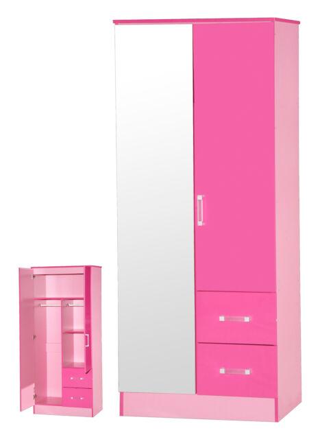 Ark Marina | Girls Pink Gloss | Mirrored 2 Door & 2 Drawer Double Combi Wardrobe