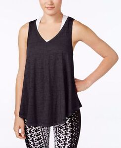 New-Calvin-Klein-Performance-Women-Relaxed-Icy-Wash-Yoga-Tank-Top-PF6T3412-Black