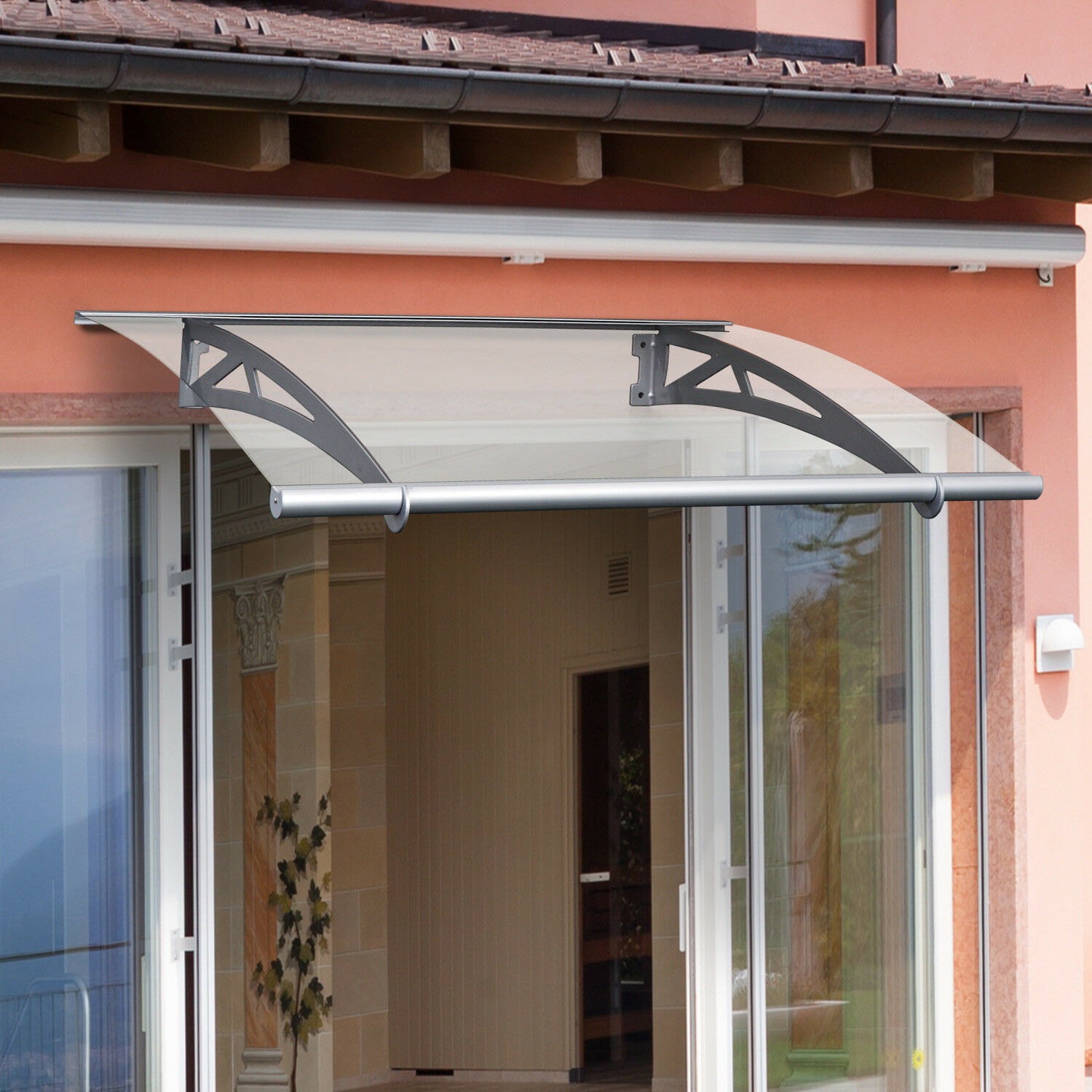 Outsunny Door Awning Porch Window Bracket Front Back Rain Cover 120 X 90cm For Sale Online Ebay
