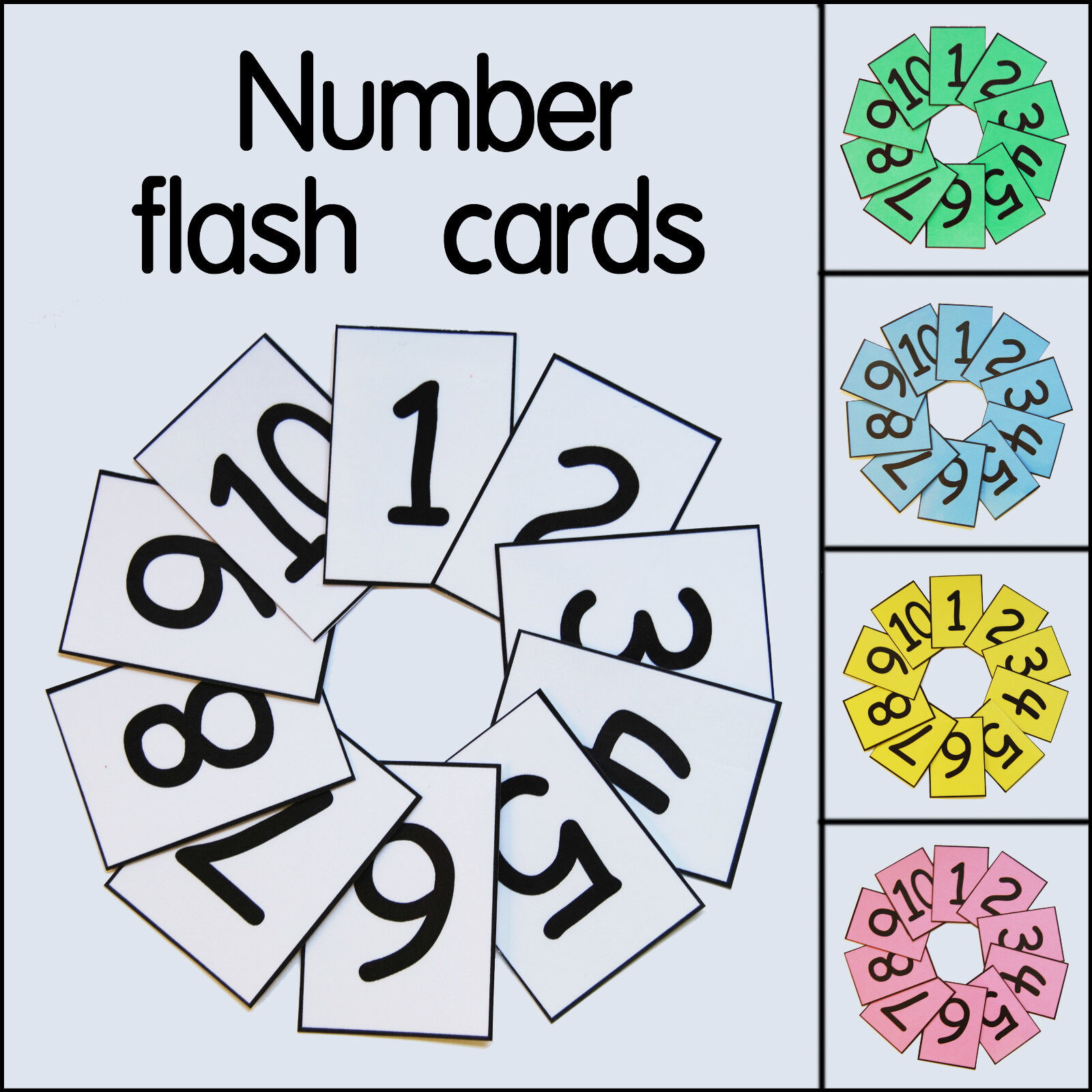 Educational number flash cards 1-10 20 50 100 For school classroom or homeschool