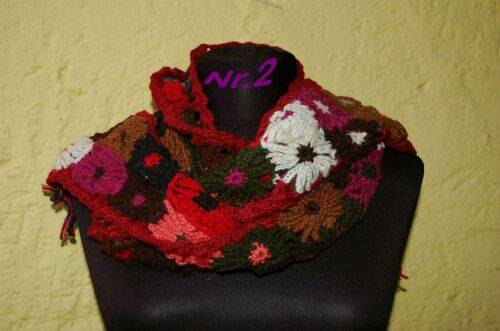 Häkel Schal Bunt Schafwolle Hippie Schal Blumen Flower Power Wollschal Fransen