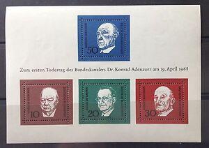 BRD-Briefmarken-Block-4-1-Todestag-von-Konrad-Adenauer-am-19-4-1968-postfrisch