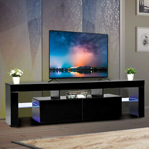63-034-High-Gloss-TV-Stand-Unit-Cabinet-LED-Shelves-2-Drawer-Console-Furniture-Black