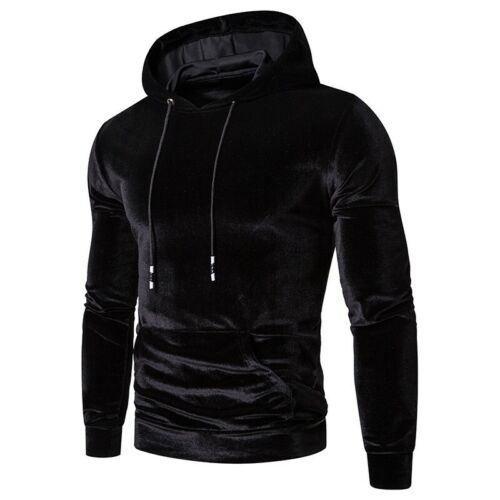Mens Hooded Hoodies Plain Western style Pullover Basic Tops Velvet Long sleeve B