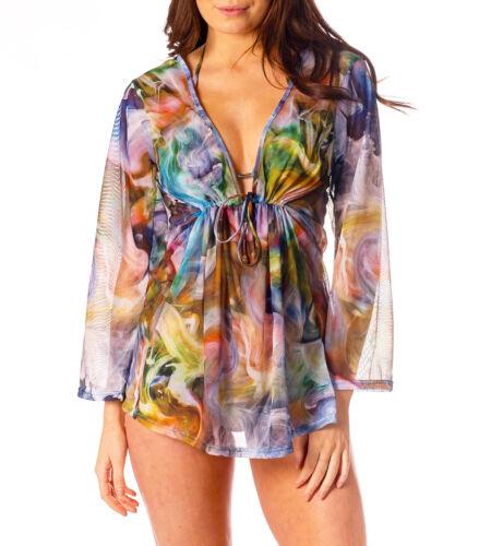 Kiniki Tahiti Tan Through Short Kaftan Cover Up Accessory Beachwear HD Print