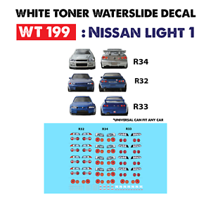 Wt199 White Toner Waterslide Decals Nissan Light 1 For Custom 1 64 Hot Wheels Ebay