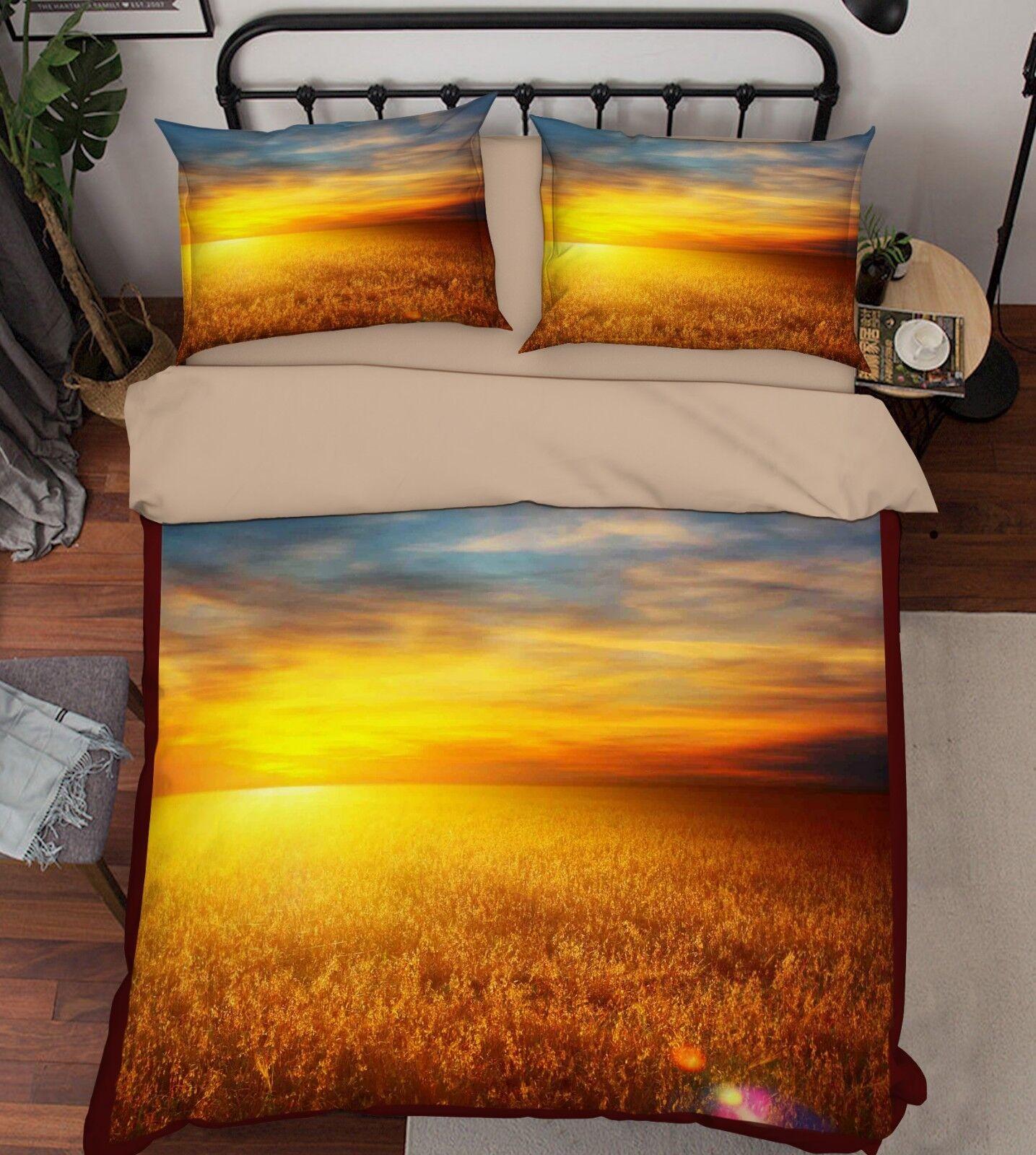 3D Dusk Grass 556 Bed Pillowcases Quilt Duvet Cover Set Single King UK Summer