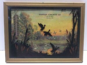 Vintage-Advertising-Picture-And-Thermometer-Litho-Reverse-Painting-Ducks-N6