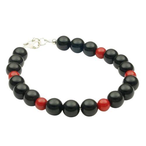 925 plateado Pulsera de Onyx /& coral 20cm brazalete cirujana negro rojo