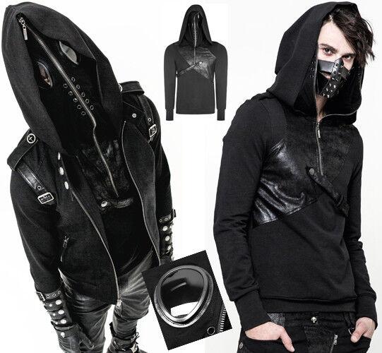 Sweatshirt Maske Reißverschluss Kapuze Gothic Punk Steampunk Punkrave Mann 2im1