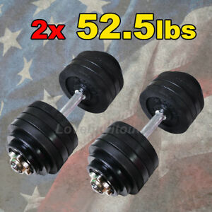 Set-of-2-x-52-5-lbs-Dumbbells-Total-105-lbs-Adjustable-Black-Plated-Dumbbell