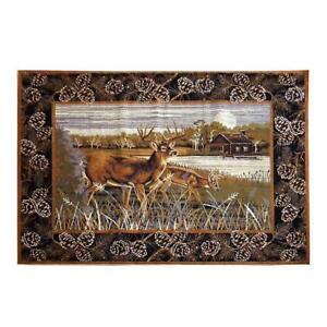 Lodge-Deer-Cabin-Rustic-Buck-Antler-Pinecone-Area-Rug-FREE-SHIPPING