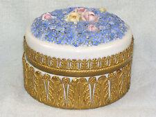 Large German Elfinware Porcelain & Brass Powder Jar - Blue Miniature Flowers