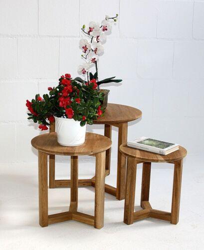 Massivholz Beistelltische 3er Set Wildeiche geölt Blumentische rund Blumenhocker