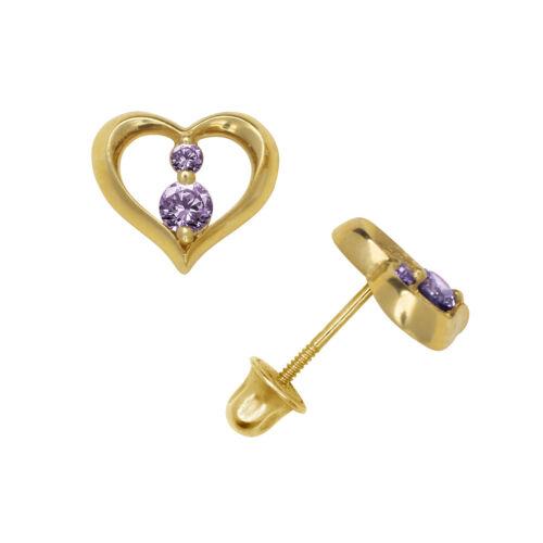 Two Stone Amethyst Open Heart Stud Earrings Screw Back 14K Yellow Gold
