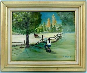 "M. JANE DOYLE SIGNED ORIGINAL ART OIL/CANVAS PAINTING ""THE ARTIST"" FRAMED"