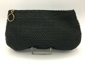 Vtg-Pin-Up-1950-039-s-Caviar-Beadette-by-Lumured-Black-Beaded-Purse-Handbag-Clutch