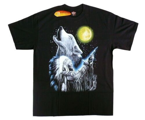 loups lune rituel shamane chef Eagle wolf taille s m l xl T-shirt indien