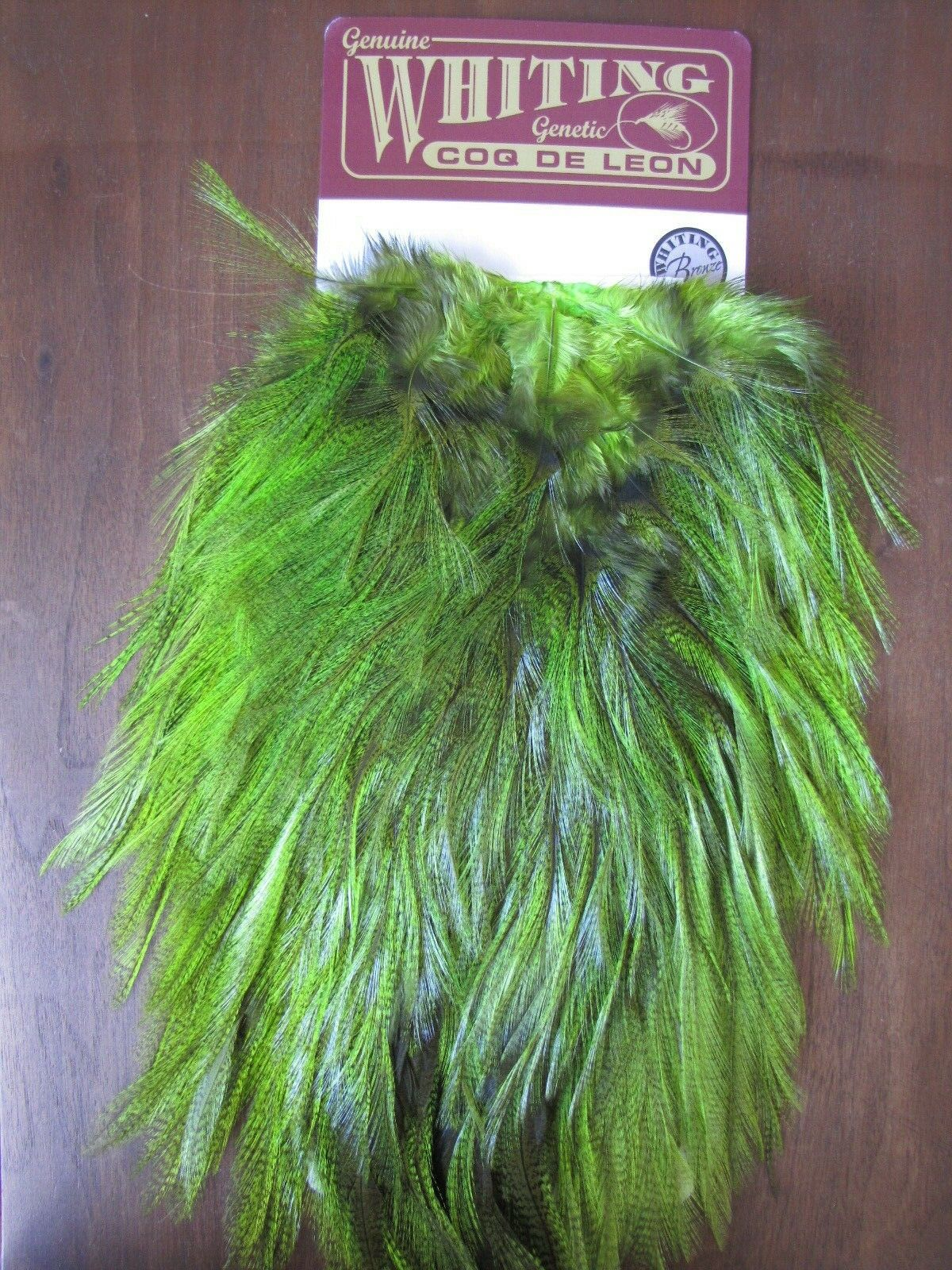 Fly Tying-Whiting CDL Bronze Rooster Saddle Badger Fl. Green Chartreuse  A