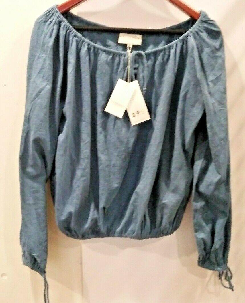 Synergy Organic Clothing Women's Long Sleeve Blue Shirt Extra Small XS