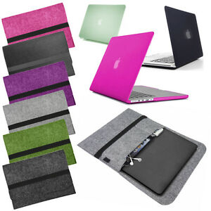 BUNDLE-Smart-bag-FELT-sleeve-cover-with-Rubberized-HARD-CASE-for-Apple-MacBook