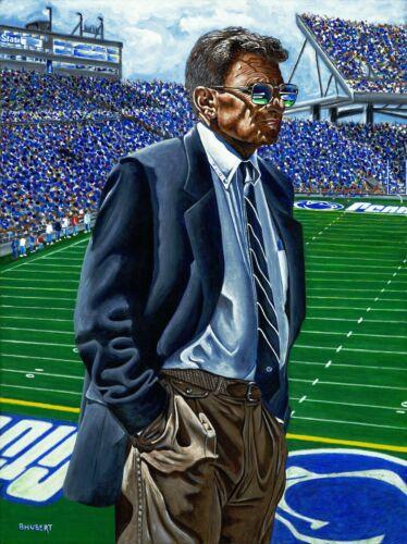 "Joe Paterno Penn State Original Fine Art Lithograph by Bernie Hubert 8.5/""x11/"""