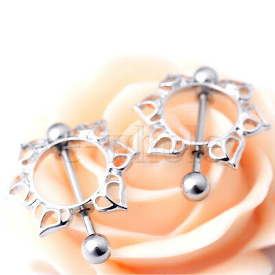 2pcs Steel Floral Flowers Circle Piercing Nipple Shield Ring 14G Bar TW