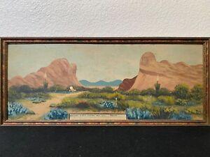 🔥 Antique Early Texas Plein Air Impressionist Landscape Oil Painting, Van Horn