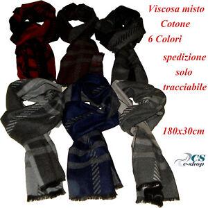codice promozionale 768f9 8ff00 Dettagli su Sciarpa Pashmina foulard scaldacollo Uomo Viscosa Cotone frangia