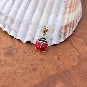 Sterling Silver Small Polished Red Ladybug Pendant Charm NEW Good Luck
