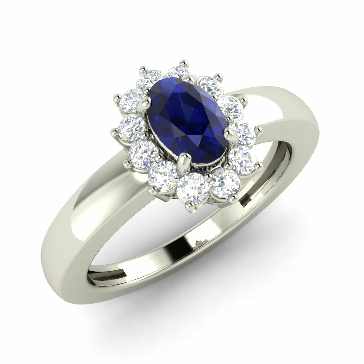 Certified 0.82 Cts Oval Cut bluee Sapphire & Diamonds Halo Ring Size 5, 6, 7, 8 9