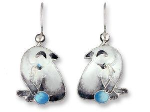 New ZARAH Enamel Jewelry STERLING SILVER Drop Earrings SIAMESE CAT Yarn Ball