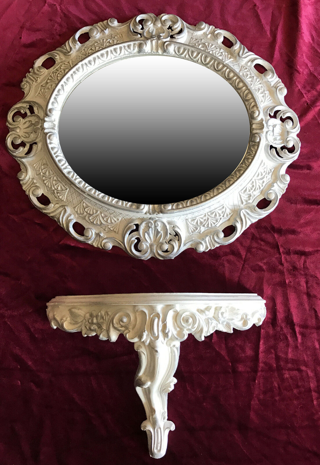 Wall Mirror Console White Silver Oval Set Bracket