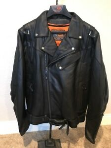 59690c3db Details about First Manufacturing Mfg 60's New Yorker Black Large  Motorcycle Jacket