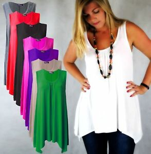 Womens-Top-Gathered-Ladies-Plus-Size-18-20-22-24-26-Vest-Hem-Flared-Swing-Hnky