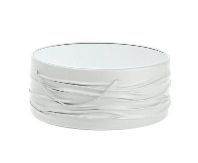 Couchtisch Sofatisch Beistelltisch Kunstleder Glasplatte Weiß 80 Cm