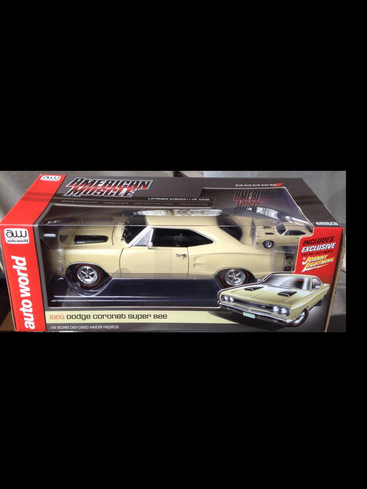 Venta barata 1969 Dodge súperbee Crema 1 18 Auto Auto Auto World 1094  marcas de moda