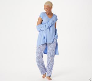 Carole Hochman Batik Floral 3 Piece Pajama Set-Peri-Petite Small A346782