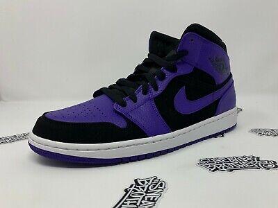 wholesale dealer aa295 acb5a Nike Air Jordan Retro I 1 Mid Black Dark Concord Purple White 554724-051