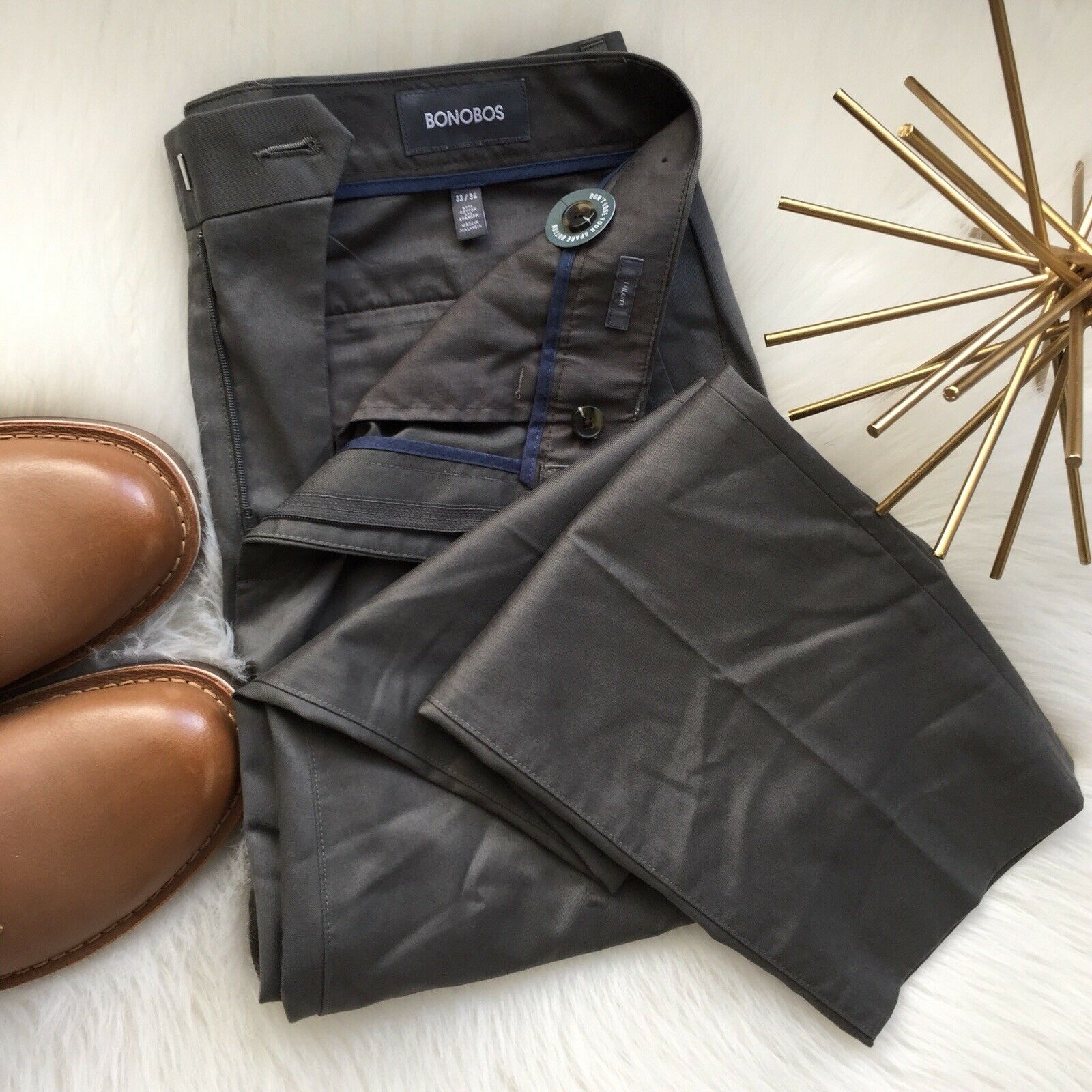New Bonobos Dress Pants Tailored 33x34 Stretch Weekday Warriors FREE Shipping