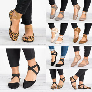 Womens-Flats-Ankle-Strap-Ballet-Pumps-Ladies-Ballerina-Summer-Comfy-Shoes-Size