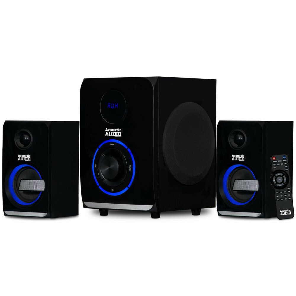 Acoustic Audio 2.1 blueetooth 3 Piece Speaker System with Lights Laptop Desktop