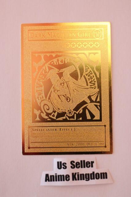 English Dark Magician Girl Yugioh Custom Metal Card Limited Golden Card