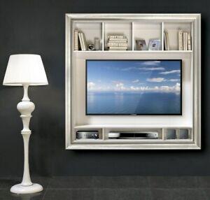 Porta Tv Cornice Argento.Dettagli Su Mobile In Legno Porta Tv Plasma Con Cornice Liscia In Foglia Oro Argento Df1010
