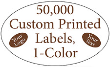 50000 Custom Printed Labels Oval 34 X 1 14 Business Stickers 1 Color Rolls