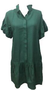 Pinko-Women-Puff-Sleeve-Emerald-Green-Dress-A-line-Viscose-Blend-US-8