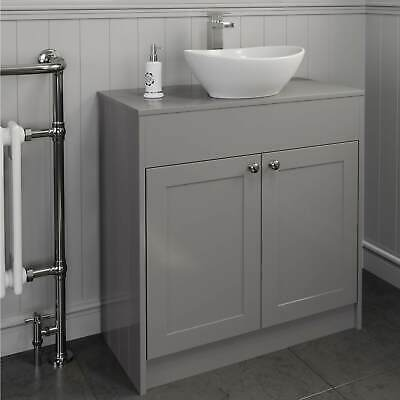 800mm Grey Traditional Vanity Unit Countertop Bathroom ...