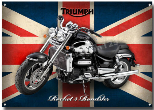 TRIUMPH ROCKET 3 ROADSTER MOTORCYCLE METAL SIGN. CLASSIC BIKES A3